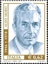 Francobollo commemorativo di Aldo Moro, nel 25° anniversario della morte